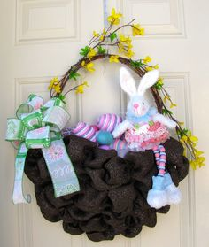 Happy Easter Bunny Spring Egg Bow Basket Wall by NicoleDCreations
