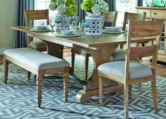 The Harbor View dining room set includes a trestle dining table and 6 slat back side chairs. Create an eclectic feel for your home with the casual cottage styling of the Harbor View dining collection. The collection is made from poplar solids. Cheap Dining Room Sets, Kitchen Dining Sets, 7 Piece Dining Set, Dining Room Bar, Dining Room Design, Dining Rooms, Dining Set With Bench, Bench Set, Table Bench