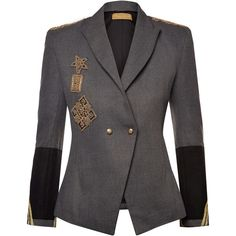 Nadya Shah Cara Structured Blazer ($1,550) ❤ liked on Polyvore featuring outerwear, jackets, blazers, grey, gray jacket, gray blazer, one-button blazers, blazer jacket and double breasted jacket