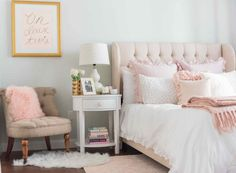 Light Pink and Gold Bedroom - Interior Paint Color Trends Check more at http://livelylighting.com/light-pink-and-gold-bedroom/