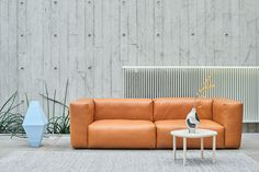 Mags Soft Sofa by Hay in Tan Leather with Serve Table, also by Hay.