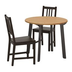 GAMLARED / STEFAN Table and 2 chairs IKEA A round table with soft edges gives a relaxed impression in a room.