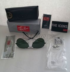 7608bbbb038 Ray Ban Aviator RB3025 L2823 Sunglasses Green Black G-15 58mm NEW AUTHENTIC   RayBan  Aviator