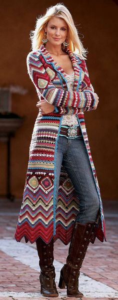Ethnic Print Knit Long Cardigan