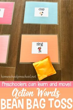 Set up this educational bean bag toss game! It's a great way to help kids learn action words (verbs) and build gross motor skills at the same time.  #preschool #prek  #preschoolathome #motorskills #beanbagtossgame #verbs