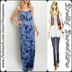 """NWT Blue & Navy Tie-Dyed Maxi Dress NWT Blue & Navy Tie-Dyed Maxi Dress  Available in sizes: S, M, L (1 M & 1 L left!) Measurements taken in inches from a size small:  Length: 60"""" Bust: 34"""" Waist: 32""""  95% Rayon/5% Spandex   Features:  • all over tie-dyed print • super soft material with stretch • spaghetti straps • racer back • scooped neckline  Bundle discounts available  No pp or trades Pretty Persuasions Dresses Maxi"""