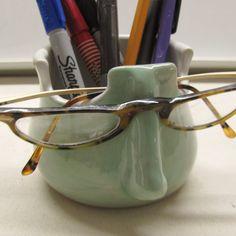 This handmade eyeglass holder pencil holder is a fine ceramic pottery office organize I used durable stoneware clay and made it on my pottery wheel. The pretty glossy turquoise glaze will look nice in any home or office. This would make a fun gift for your coworker . This