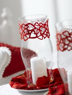 Cute centerpiece for Valentine's Day if your wedding was on or near the holiday.  Even if your color is red this would work too.