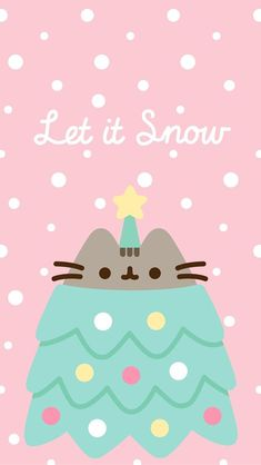 phone wall paper cat Let It Snow Pusheen Phone Wallpaper/Background,