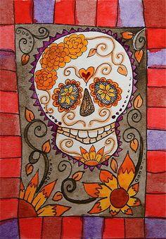 Sugar Skull with Border Mexican Folk ACEO ATC Art Card Original Watercolor SFA | eBay