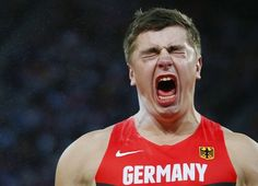 Germany's David Storl reacts after his throw in the men's shot put final at the London 2012 Olympic Games at the Olympic Stadium August 3, 2012. REUTERS/Kai Pfaffenbach (BRITAIN - Tags: OLYMPICS SPORT ATHLETICS TPX IMAGES OF THE DAY)
