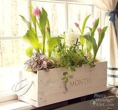 DIY White-washed Window Box from a Wine Crate - DIY Garden