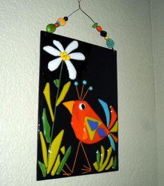 Fused Glass Orange Bird Flower Plaque Whimsical Decor