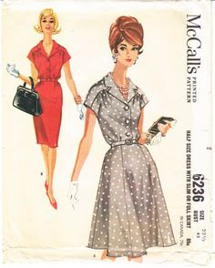 McCalls 6236 Slim or Full Skirt Dress Sewing Pattern--I want to find a pattern like this with the kimono-ish shoulder/sleeves and the gathering.