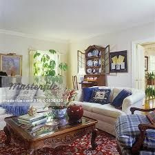 White Couches Cabriole Leg Oak Coffee Table Books Snapdragon Floral Arrangement In Bowl Blur Pillows Secretary Open With Display Of Blue Plates Partial Plaid Cushion Georgian Interiors, Georgian Homes, Grey Interiors, Beautiful Interiors, My Living Room, Living Room Decor, Living Spaces, Red Oriental Rug, Interior Exterior
