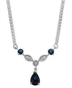 Sapphire (1-1/6 ct. t.w.) and Diamond Accent Frontal Necklace in 14k White Gold
