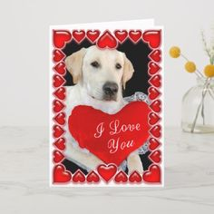 Shop Valentine's Day Dog Card created by glenndesigns. Valentines Day Dog, Dog Cards, Make You Smile, Holiday Cards, Labrador Retriever, Pup, Make It Yourself, Dogs, Prints