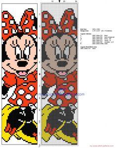 Cross stitch children bookmark with Disney Minnie Mouse