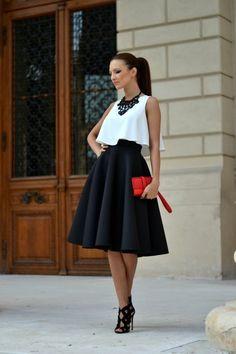La jupe mi-longue , une tendance de l'été talons hauts noirs, jupe trapèze noire, femme élégante Summer Outfits 2017, White Summer Outfits, Polyvore Outfits, Casual Mode, Mid Length Skirts, Bohemian Mode, Outfit Trends, Full Skirts, How To Look Classy