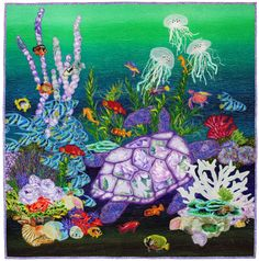 """Gentle Giant"", 34"" x 35"", by Judy Beskow. 2012 Hoffman Challenge quilt - Applique 3rd Place"