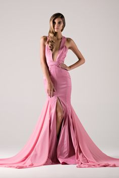 Pink plunge neck taffeta gown with chiffon waist cape & front slit.-Michael Costello US Size Chart- Made true to size- When choosing height, include the inchesof yourheels- If you select custom, one of our representatives will contact you for size information- Dry clean only
