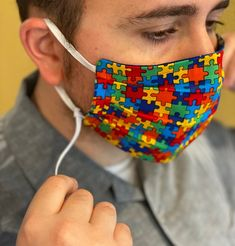 Adjustable Face protecting mask Autism Awareness reversible to Midnight Starry Sky adjustable elastic Easy Face Masks, Diy Face Mask, Sewing Hacks, Sewing Projects, Diy Mask, Mask Design, Puzzle Pieces, Sewing Patterns Free, Pattern Sewing