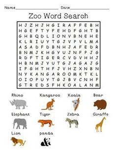 FREE! Zoo Word Search Puzzle!