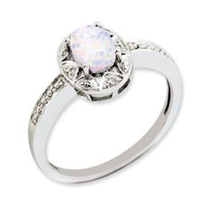 Sterling Silver Oval October Birthstone Opal Diamond Ring Available Exclusively at Gemologica.com