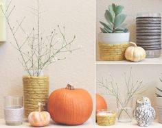 Simply take a plain vase or glass, add some hot glue, and wrap yarn around it—you can cover either the whole vase or only a portion of it in yarn. Mix and match colors and textures, and then add in your favorite fall florals.