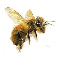 Pintura de abeja - la miel Art Print. Ilustración de la naturaleza. Miel de abeja, abeja de vuelo, arte encantadora abeja