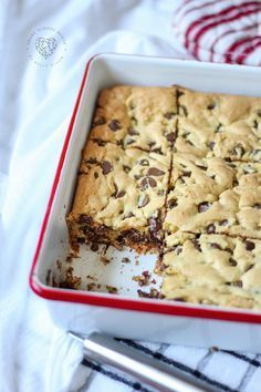 Lazy Chocolate Chip Cookies - Cake mix cookies! These will be gone in no time! CORRECTION: These WERE gone in no time! Lazy chocolate chip cookie bars are the easiest cookies you will ever make!