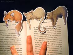 Pet bookmark. Customize it Illustration art by SillyLunastorta   #handmade #bookmarks #illustration #drawingt #etsy #merchandise #books #gift #ideas #animals #pets #fox #cat #bear