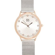 Silver and rose gold tone mesh watch - watches - women