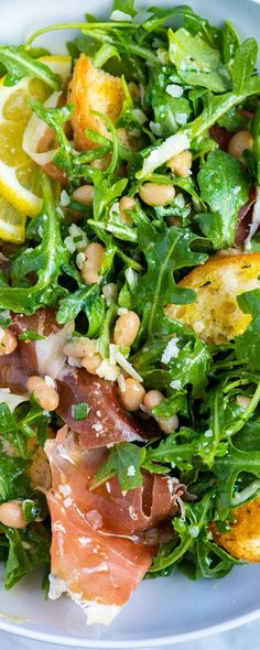 Lemony White Bean Salad with Prosciutto Making this white bean salad with prosciutto and arugula at Prosciutto, Arugula Salad, Egg Salad, Gourmet Salad, Cooking Recipes, Healthy Recipes, Fresh Salad Recipes, Clean Eating, Healthy Eating