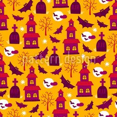 Halloween Castle Repeat by Mylana Musiienko at patterndesigns.com Halloween Vector, Halloween Patterns, Vector Pattern, Pattern Design, Yellow Background, Surface Design, Pikachu, Castle, Greeting Cards