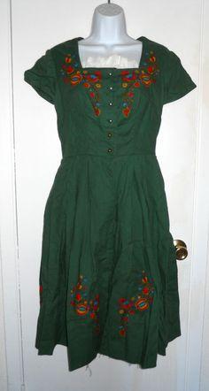vintage Salzburg Trachten Dirndl Dress green Austrian printed dress sz S #SalzburgTrachten #Dress