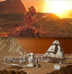 """Ridley Scott's """"The Martian"""" is a stunning visual reminder of what our space program can achieve. Top image: Matt Damon in """"The Martian"""" Trailer. Bottom image: 1989 painting by Les Bossinas/ NASA"""