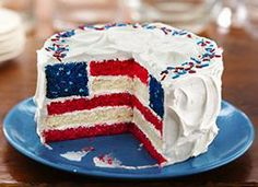Red, White and Blue Layered Flag Cake Recipe