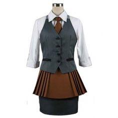 Kirishima Cosplay Outfit Anime Tokyo Ghoul Kirishima Costume Women Halloween Uniform.Package includes: Vest, White Shirt, Brown Tie, Brown Skirt, Gray Skirt.