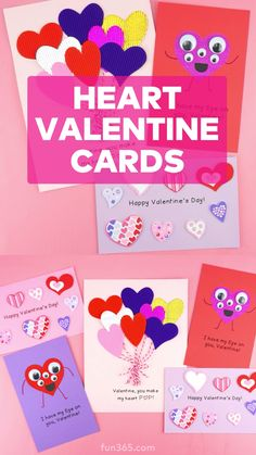 6 Easy Ways to make a Heart Valentine Card for Kids Have kids make a handmade Valentine's Day card this year that's perfect to hand-out in the clas Valentines Day Cards Handmade, Happy Valentines Day Card, Valentines For Kids, Valentine's Cards For Kids, Cards For Boyfriend, Diy Crafts For Gifts, Valentine's Day Diy, Heart Kids, Kitten Images