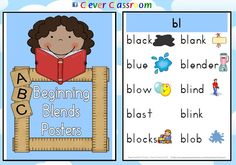 Beginning Blends Posters - PDF file    20 page file designed by Clever Classroom.    20 full-page posters with text and images where applicable.    Display your full-page posters in your classroom as a ready reference for your students. Print two posters to one page to make smaller more portable posters.    20 blends include:  bl  cl  fl  gl  pl  sl  br  cr  dr  fr  gr  pr  tr  sc  sm  sp  st  sn  sw  tw
