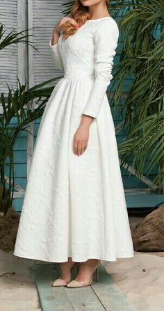 Long Sleeve White Fit and Flare Maxi Dress Modest Dresses, Simple Dresses, Cute Dresses, Casual Dresses, Prom Dresses, Dresses With Sleeves, Hijab Evening Dress, Hijab Dress Party, Evening Dresses
