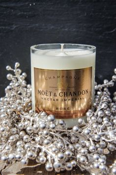 Such a classic vintage candle. Love the delicate touch it adds to a room. Great with champagne bottles Candle Lanterns, Candle Jars, Candle Holders, Candle Labels, Bottle Candles, Wine Labels, Soy Candle, Wine Bottles, Moet Chandon