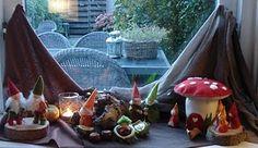 Autumn Nature Table, tiny gnomes and chesnut baby