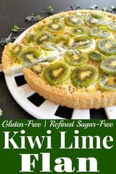 Gluten-Free Kiwi Flan Recipe a vibrant European sponge cookie-like cake dessert with a tart custard filling fresh sliced fruit and brushed with a glaze. Flan Cake, Custard Cake, Custard Filling, Potluck Recipes, Dessert Recipes, Potluck Meals, Sugar Free Desserts, Gluten Free Desserts, Fruit Flan