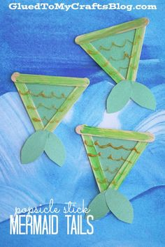 Popsicle Stick Mermaid Tails - Kid Craft Daycare Crafts, Classroom Crafts, Toddler Crafts, Kid Crafts, Craft Projects, Dinosaur Crafts, Craft Ideas, Easter Crafts, Craft Activities For Kids