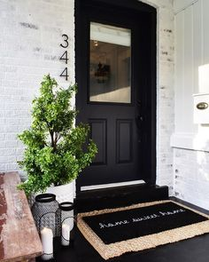 50 Stunning Modern Farmhouse Front Door Entrance Ideas - Interior and Exterior Design - Doors, House Exterior, House Design, Front Porch Decorating, Farmhouse Front Door, Farmhouse Front Porches, Front Porch Remodel, Front Porch Design, Porch Decorating