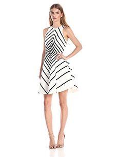 HALSTON HERITAGE Womens Silk Cotton Faille Structured Cocktail Dress with Variegated Stripe Linen WhiteBlack 4