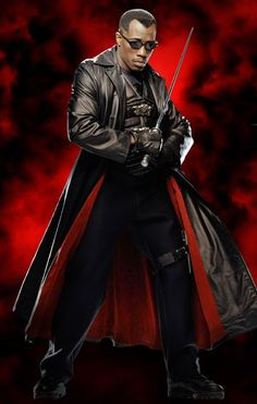 """Wesley Snipes as Eric Brooks / Blade Wesley Snipes as Eric Brooks / Blade A half-vampire """"daywalker"""" who hunts vampires. Blade is hi. Marvel Heroes, Marvel Dc, Marvel Live, True Blood, Eric Brooks, Blade Movie, Blade Film, Blade Marvel, Wesley Snipes"""