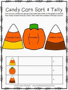 FREEBIE - Candy Corn (Autumn Mix) sorting mat and tally chart - so fun and yummy!